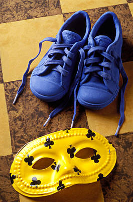 Tennis Shoes Photograph - Kids Blue Shoes And Mask by Garry Gay