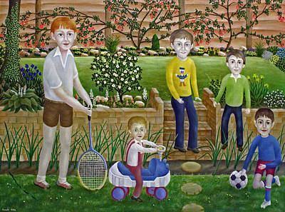 Kids In The Garden Art Print by Ronald Haber