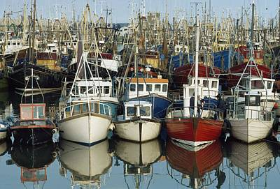 Kilkeel, Co Down, Ireland Rows Of Boats Art Print by The Irish Image Collection
