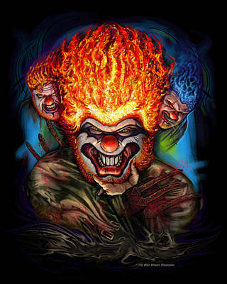 Multiple Personalities Digital Art - Killer Clowns by Mike Weaver