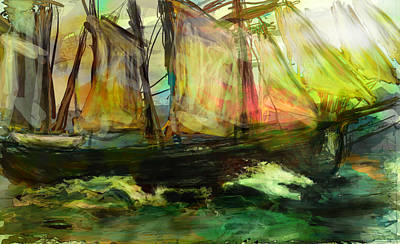 Old Boat Digital Art - Kind Of Abstract Sea by James Thomas