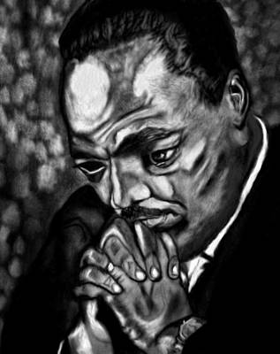 Martin Luther King Drawing - King Of The Mountain by Herbert Renard