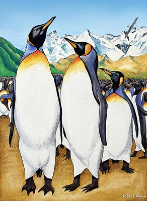 Penguin Painting - King Penguin's Ball by Robert Lacy