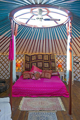 Yurts Photograph - King Size Bed In A Mongolian Yurt by Corepics