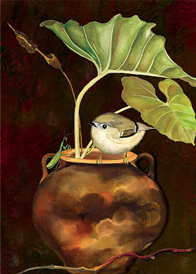 Art Print featuring the painting Kinglet And Friend by Anne Beverley-Stamps