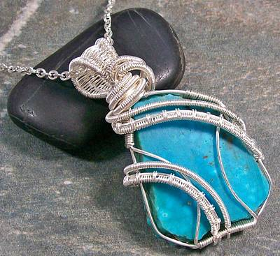 Nugget Necklace Jewelry - Kingman Turquoise And Silver Coil Cascade Pendant by Heather Jordan
