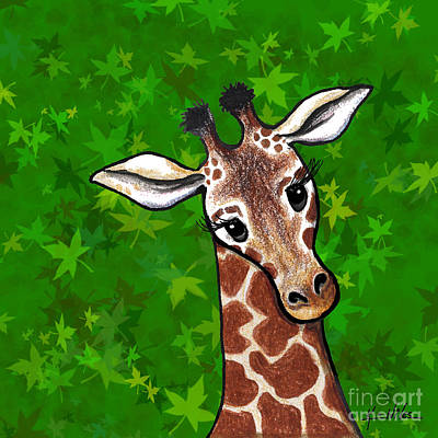 Kiniart Digital Art - Kiniart Giraffe by Kim Niles