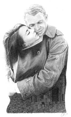Steve Mcqueen Drawing - Kiss by Chris Riley