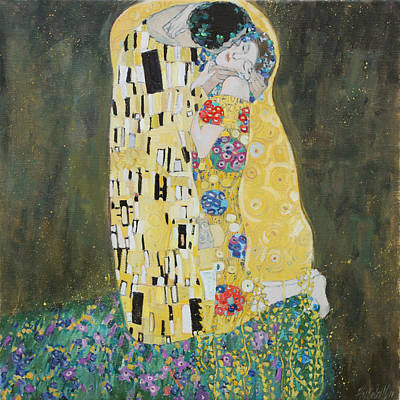 Painting - Kiss Copy Of Gustav Klimt by Juliya Zhukova
