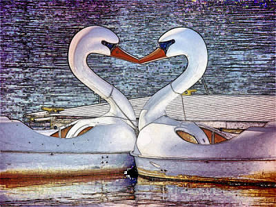 Art Print featuring the photograph Kissing Swans by Alice Gipson