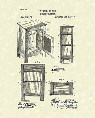 Buffet Drawing - Kitchen Cabinet 1882 Patent Art by Prior Art Design