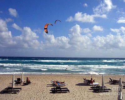 Kite Boarding In Boca Raton Florida Art Print by Merton Allen