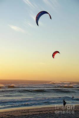 Kite Surfers On Beach At Sunset Art Print by Sami Sarkis