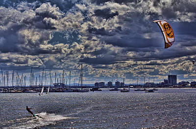 Kite Surfing At St Kilda Beach Print by Douglas Barnard