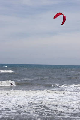 Kiteboarder With Kite In The Waves Art Print by Skip Brown