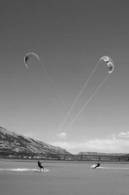 Kiteboarding Photograph - Kiteboarding Symmetry by Skip Brown