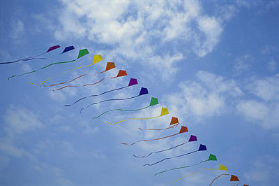 Kites Fly In A Rainbow Of Colors Art Print by Stephen Alvarez