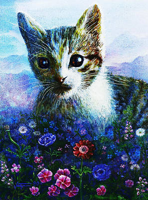 Art Print featuring the mixed media Kitten by Hartmut Jager