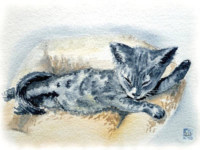 Watercolor Pet Portraits Wall Art - Painting - Kitten by Irina Sztukowski