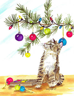 Painting - Kitten's First Christmas by Terry Taylor
