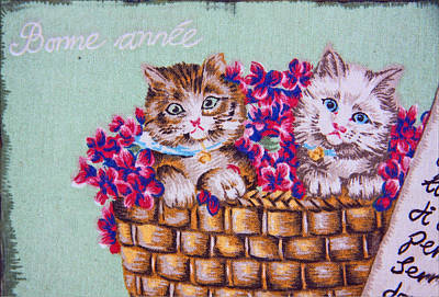 Kittens In A Basket Art Print by Chet King