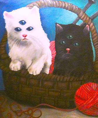 Basket Ball Painting - Kittens In A Basket by Katie Victoria Tolley