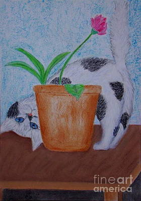 Wall Art - Pastel - Kitty - Peek A Boo by Cybele Chaves