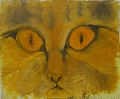 Painting - Kitty's Face by Elizabeth Parashis