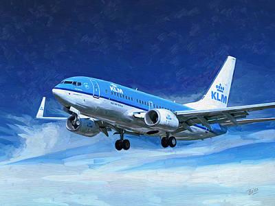 Painting - Klm Boeing 737 Lands At Ams by Nop Briex