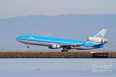 Klm Royal Dutch Airlines Jet Airplane At San Francisco International Airport Sfo . 7d12157 Art Print