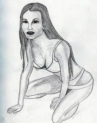 Drawing - Kneeling Beauty by Rebecca Wood
