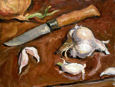Brushy Painting - Knife And Garlic by Thor Wickstrom