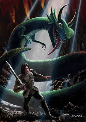 Knight In Battle With Giant Serpent Print by Martin Davey