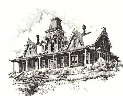 Abandoned Building Drawing - Knippenberg Mansion Glendale Ghost Town Montana by Kevin Heaney