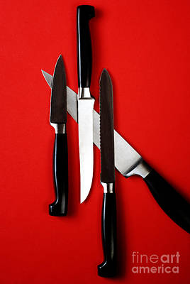 Knives On Red Art Print by HD Connelly