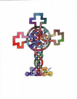 Celtic Cross Drawing - Knot #2 by Dean Ellis