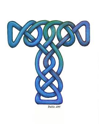 Celtic Cross Drawing - Knot #3 by Dean Ellis