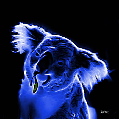 Koala Bear Digital Art - Koala Pop Art - Blue by James Ahn