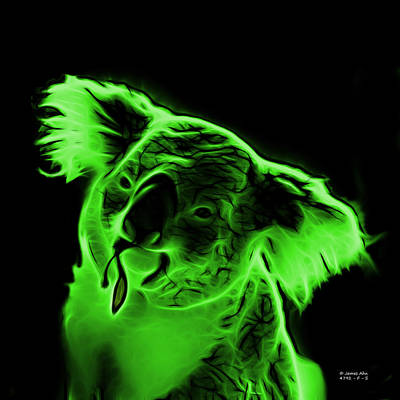 Koala Pop Art - Green Print by James Ahn