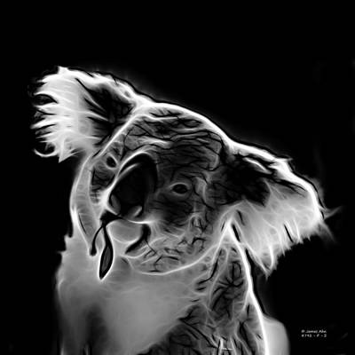 Koala Bear Digital Art - Koala Pop Art - Greyscale by James Ahn