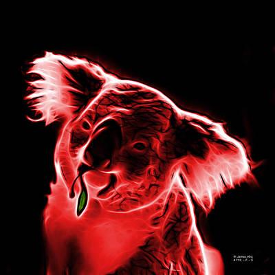 Koala Bear Digital Art - Koala Pop Art - Red by James Ahn