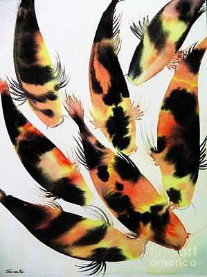Painting - Koi Action by Frances Ku