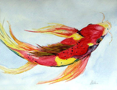 Art Print featuring the painting Koi by Alethea McKee