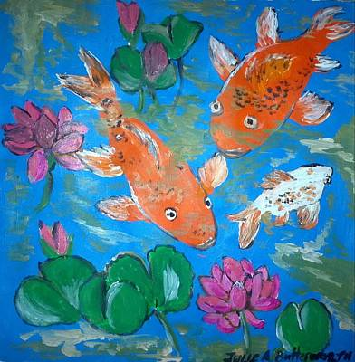 Lotus Bud Painting - Koi Amongst Lotus by Julie Butterworth
