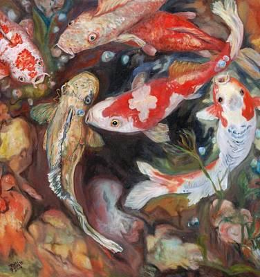 Gills Rock Painting - Koi Fish Circling by Phyllis Barrett