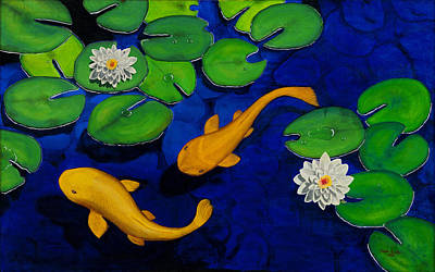 Lilly Pond Painting - Koi Fish by Oscar Acosta