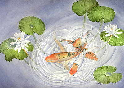 Lilly Pond Painting - Koi In Lily Pond by Leona Jones