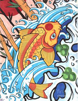 Catfish Drawing - Koi by Lon Bennett