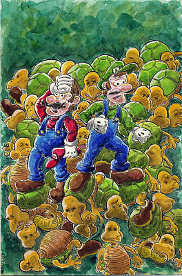 Videogames Painting - koopa Stomp by Anthony Harris