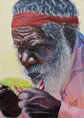Koori Elder Art Print by Anne Gardner